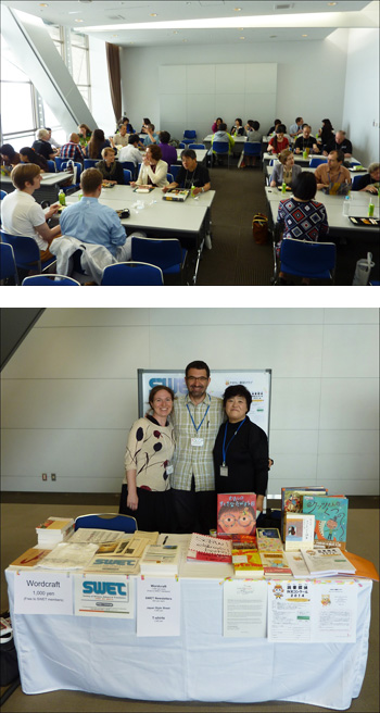 Top: SWET-SCBWI luncheon at IJET. Bottom: Wendy Uchimura and Sako Ikegami with George Bourdaniotis. Photos courtesy George Bourdaniotis and SWET.