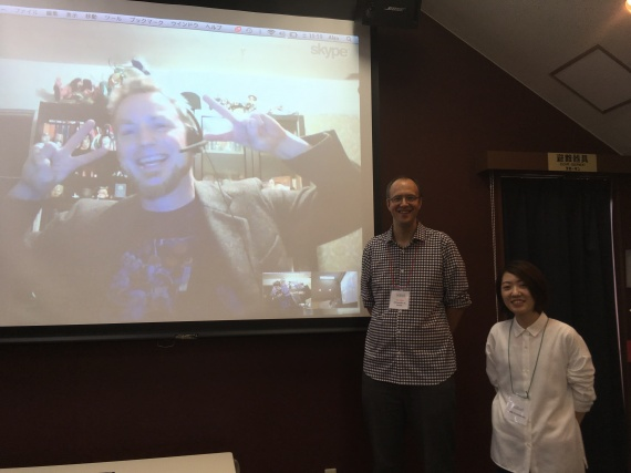 Zack Davisson, via Skype from Seattle, and Alexander O. Smith pose with manga artist Miki Yamamoto.